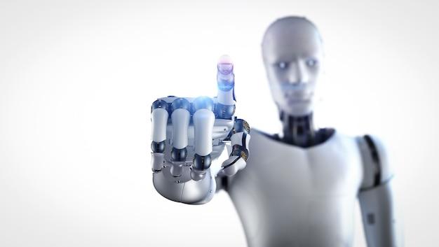 白い背景に輝く光でサイボーグまたはロボットの指先を3dレンダリング