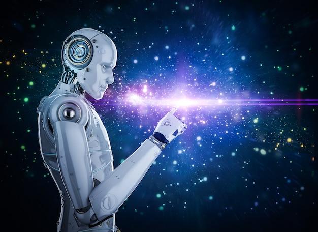 輝く光でサイボーグまたはロボットの指先を3dレンダリング