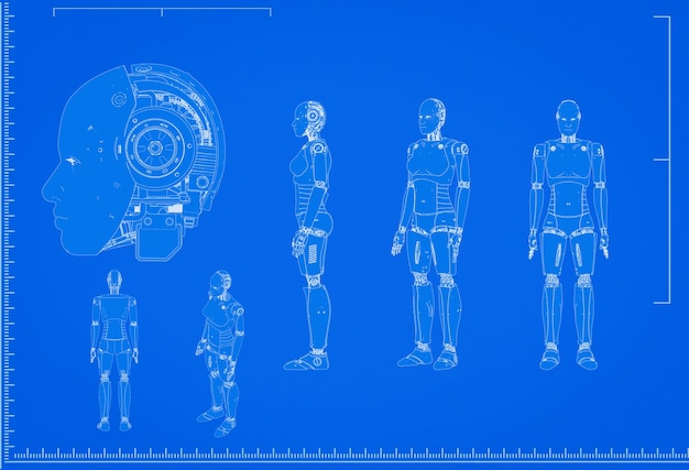 3d rendering cyborg or robot blueprint with scale on blue background