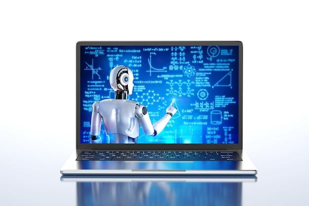 コンピューターノートブックでサイボーグの教育またはトレーニングをオンラインで3dレンダリングする