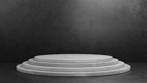프레 젠 테이 션 모형 템플릿에 대 한 어두운 회색 배경에 3d 렌더링 실린더 콘크리트 받침대 연단. 형상 전시 무대 개념 그림입니다.