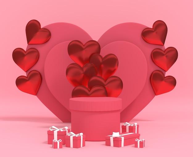バルーンギフトボックス付きの製品バレンタインデーの3dレンダリングシリンダー表彰台。プレミアム写真