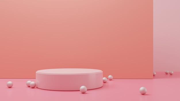 真珠ビーズ付き3dレンダリング円筒スタンド
