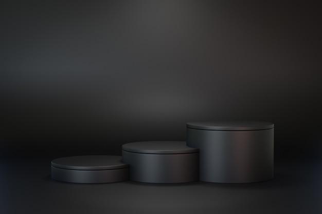 3d 렌더링 어두운 배경입니다. 검은 배경에 3단계 검은 실린더 무대 연단. 프레젠테이션용 이미지입니다.