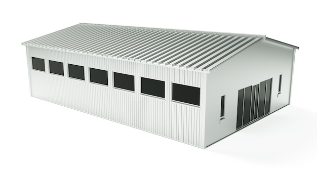 3d rendering of dark empty factory interior or empty warehouse, a glowing white screen in the middle