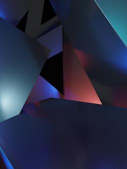 電子の3dレンダリングダークホログラフィックまたは虹色の最小ジオメトリ抽象的な背景