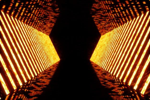 3d 렌더링 어두운 붉은 네온 불빛의 조명 된 복도입니다. 벽에 우아한 미래 네온 빛입니다.