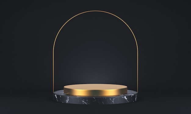 3d rendering of dark marble and gold pedestal on black background, round gold frame, abstract minimal concept, blank space, simple clean design, luxury minimalist mockup. 3d rendering