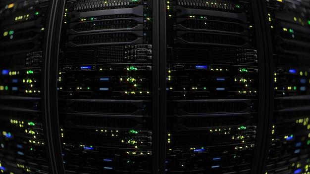 3d rendering of a dark modern server room data center in the storage center