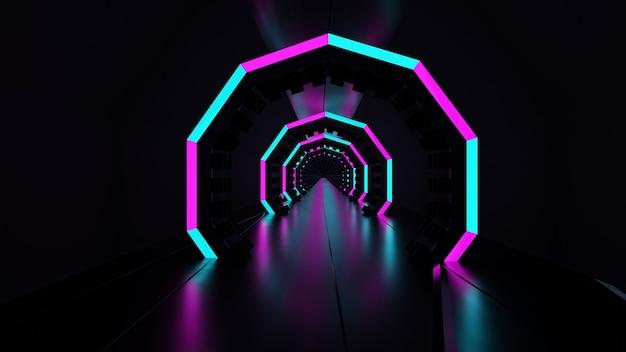 3d 렌더링 어두운 네온 터널 빛나는 블루 핑크 추상 led 조명
