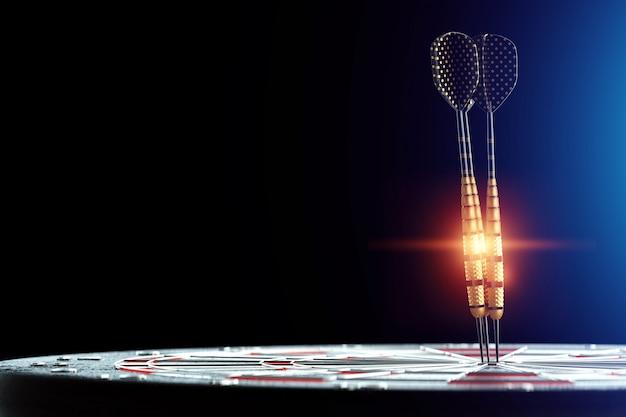 3d rendering of darts stuck in a target