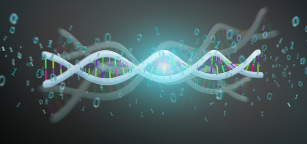 3d rendering data coded dna with binary file around