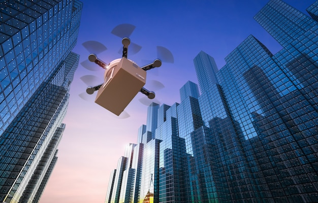 都市を飛んでいる3dレンダリング配信ドローン