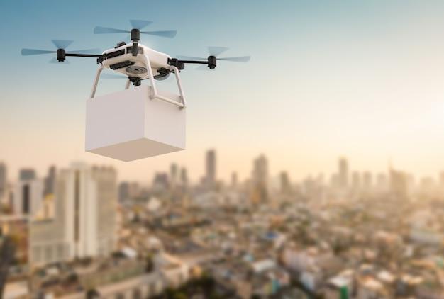 도시 배경으로 비행하는 3d 렌더링 배달 무인 항공기