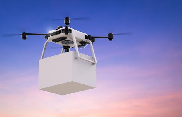 흰색 상자가 있는 3d 렌더링 배달 무인 항공기