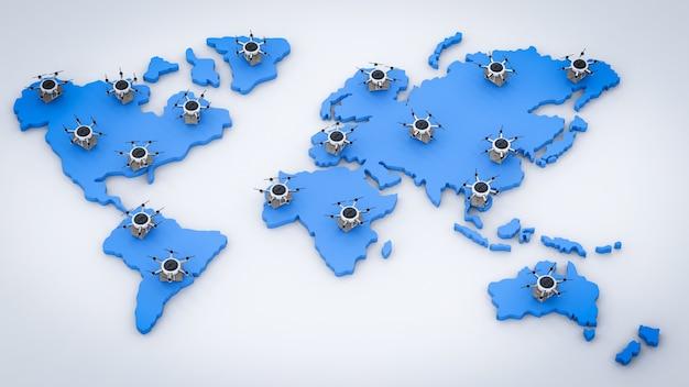 世界地図上の3dレンダリング配信ドローン