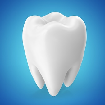3d rendering dental care tooth design elements on blue background