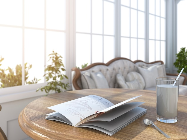3d rendering depth of field book and glass of milk in bright white room