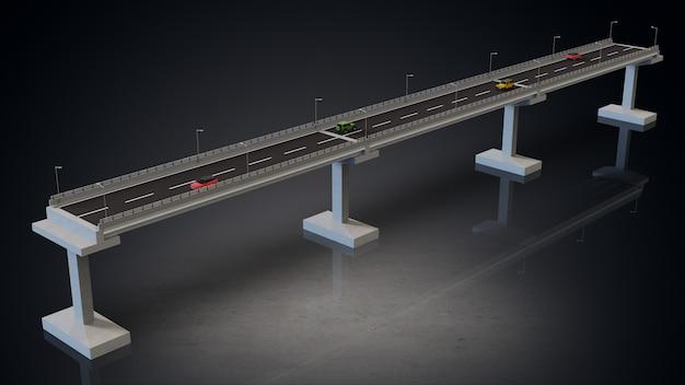 자동차와 도로 모델 그림의 높은 3d 렌더링 디자인 다리