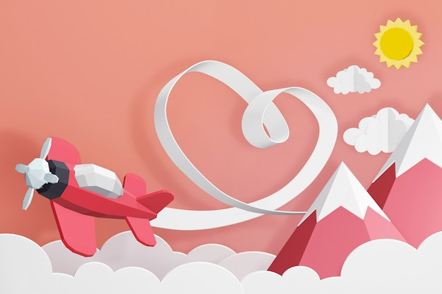 3d rendering design, heart ribbon with pink plane flying in the sky.