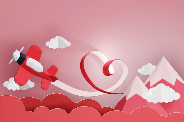 3d rendering design, heart ribbon with red plane flying in the sky.