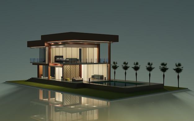 3d рендеринг дизайн современный экстерьер модели дома иллюстрация с бассейном