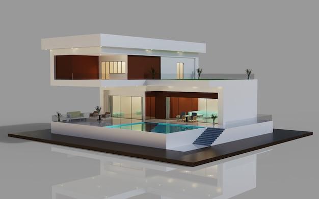 수영장이 있는 집 모델 그림의 3d 렌더링 디자인 현대적인 외관