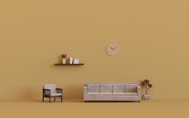 3d рендеринг дизайн современного интерьера гостиной с креслом