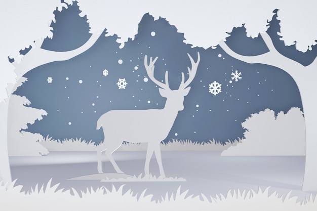 3d rendering design, paper art and craft style of deer in the forest with snowflake.