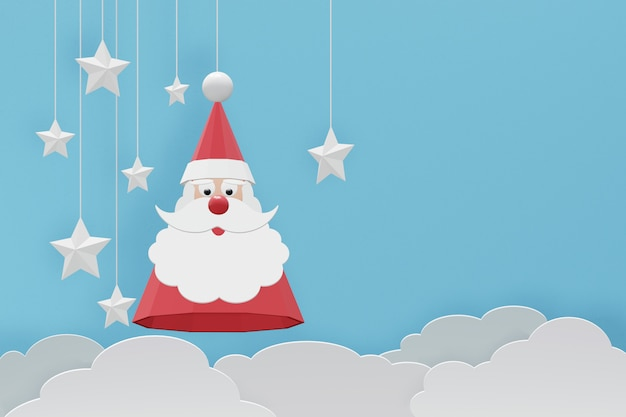 3d rendering design, paper art and craft style of santa claus hat.