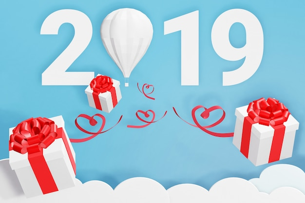 3d rendering design, paper art style of happy new year 2019 and balloon scatter gift box