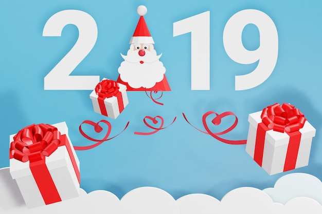 3d rendering design, paper art style of happy new year 2019 and santa claus hat scatter gi