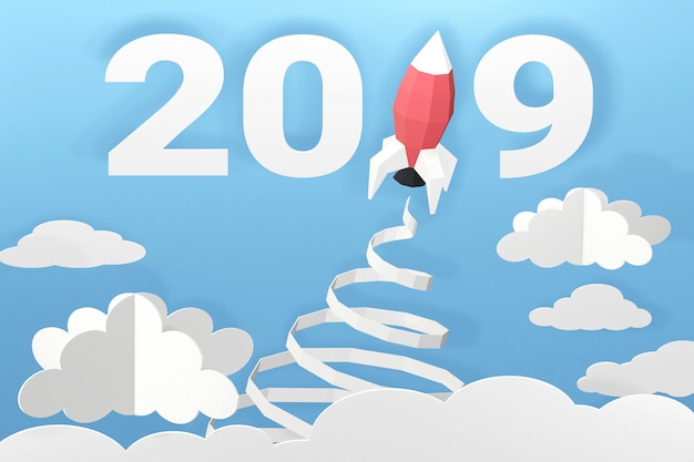 3d rendering design, paper art style of happy new year 2019 with rocket launch in the sky.
