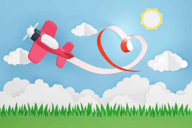 3d rendering design, paper art style of heart ribbon with pink plane flying in the sky.