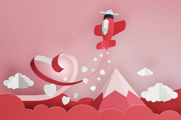 3d rendering design, paper art style of heart ribbon with red plane flying in the sky.