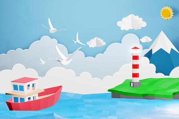 3dレンダリングデザイン、灯台とボートのペーパーアートスタイルが海を航海しています。