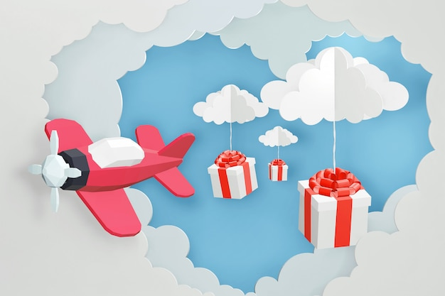 3d rendering design, paper art style of pink plane flying and scatter gift box in the sky.