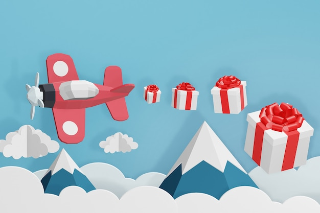 3d rendering design, paper art style of red plane flying and scatter gift box in the sky.