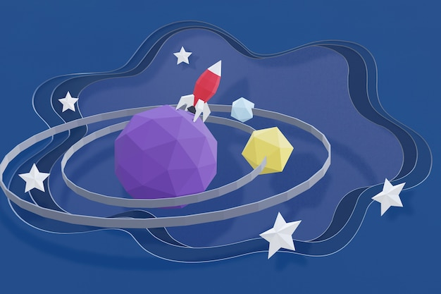 3d rendering design, paper art style of rocket on planet in outer space.