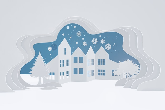3d rendering design, paper art style of snow urban countryside landscape with copy space.