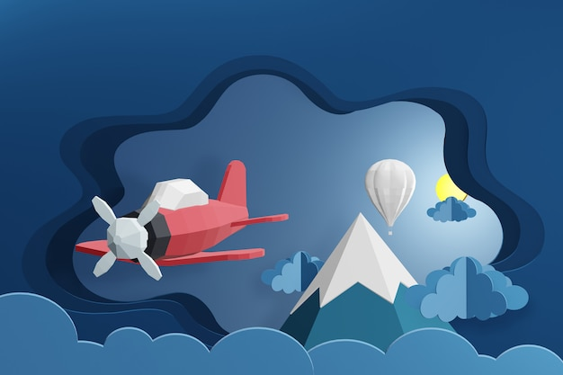 3d rendering design, pink plane and white balloon flying above the cloud at night.