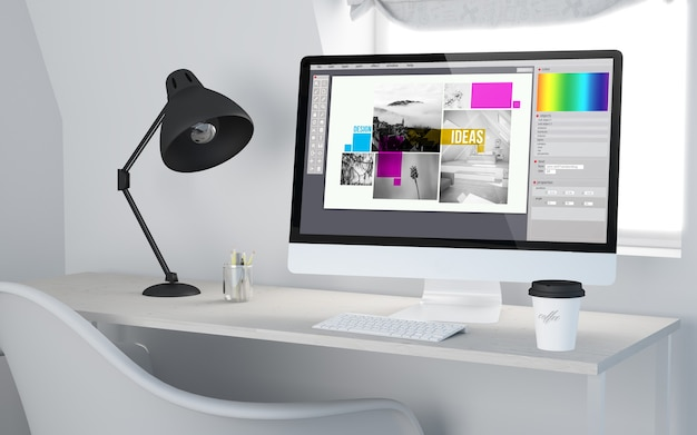 3d rendering of a desktop workplace with computer showing graphic design software.