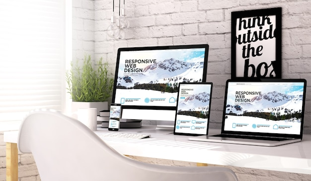3d rendering of devices collection at workspace with responsive website on screen.