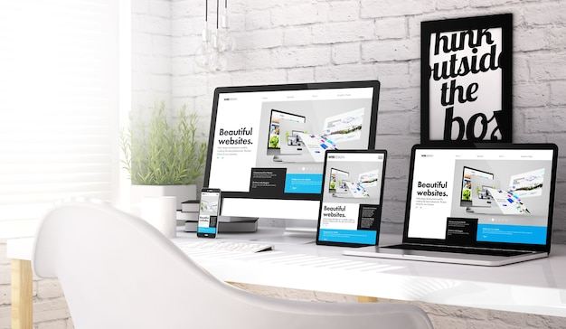 3d rendering of devices collection at workspace with website builder website on screen. all screen graphics are made up.