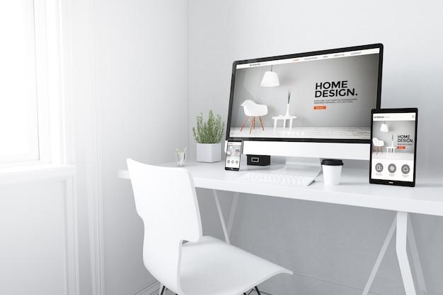 3d rendering of devices on desktop