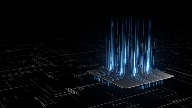 3d rendering of digital binary data on microchip with glow circuit board background.