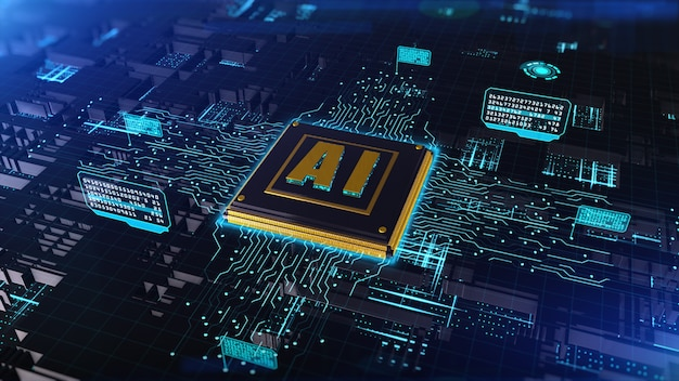 3d rendering digital of computer chip over circuit background