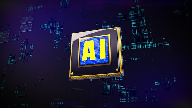 3d rendering digital of cpu processors over circuit background
