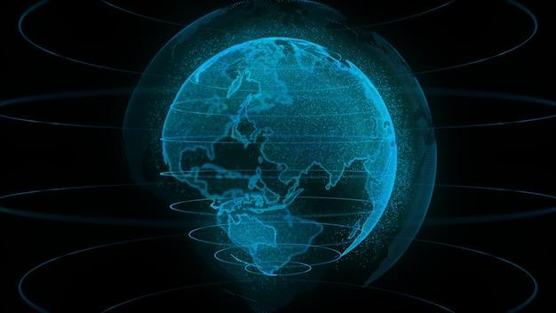 3dレンダリングデジタル地球の自転、グローバルネットワーク接続技術デジタル抽象的な背景。