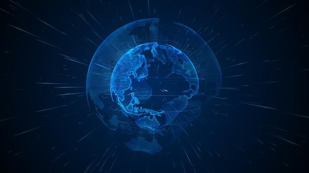 3dレンダリングデジタル地球の自転、グローバルネットワーク接続、テクノロジー高速インターネット接続抽象的な背景。
